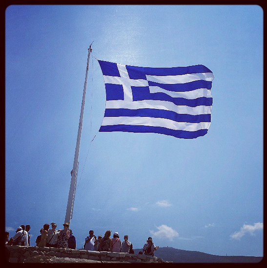 Greek Flag atop the Acropolis and Parthenon
