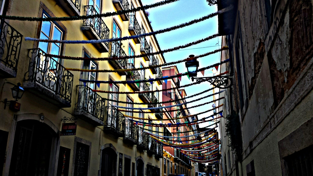The Bairro Alto in Lisbon, Portugal. Look up during the day, and you can sense the nightlife and a million partiers are about to arrive.
