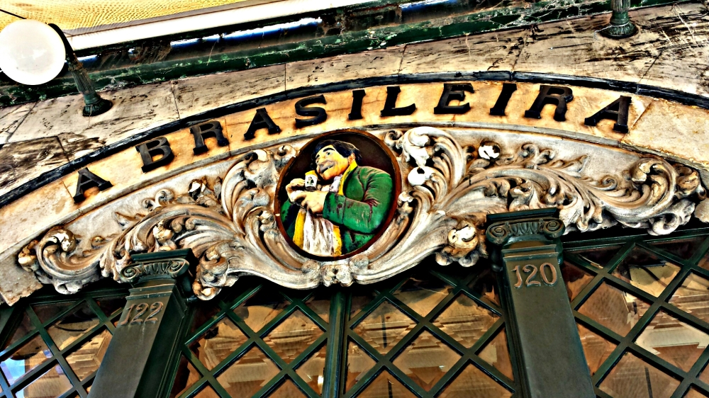 Brasiliera. The most famous cafe in Lisbon, Portugal, and the haunt of the country's most famous writer, Fernando Pessoa.
